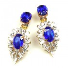 Ella Earrings Clips ~ Baguettes and Ovals ~ Blue