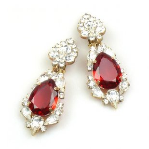 Grand Mythique Clips-on Earrings ~ Crystal Red