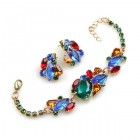 Lite Fountain Bracelet and Earrings ~ Multicolor Emerald