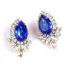 Paris Charm Clips Earrings ~ Crystal with Blue