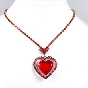 St. Valentine Necklace ~ Heart in Heart ~ Red