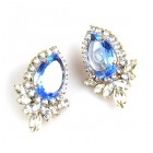 Paris Charm Clips Earrings ~ Crystal with Sapphire Blue