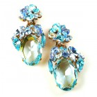 Fiore Clips Earrings ~ Aqua Ovals with Aqua and Sapphire