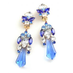 Theia Earrings Clips ~ Sapphire Blue and Clear