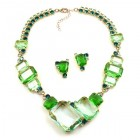 Dice Cube Necklace Set with Earrings ~ Green