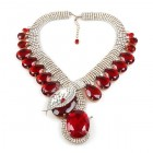 Extra Big Paradise Lost Necklace ~ Crystal with Red