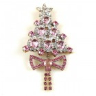 Xmas Tree with Bow Pin ~ Clear Pink