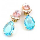 Effervescence Earrings with Clips ~ Aqua Pink