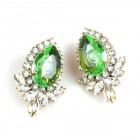 Paris Charm Clips Earrings ~ Crystal with Green