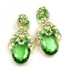 Extra Elipse Earrings Long Pierced ~ Green with Yellow