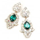 Beaute Earrings Pierced ~ Crystal with Silver Emerald