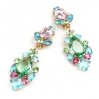 Déjà vu Clips Earrings ~ Multicolor with Green and Aqua
