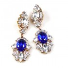 Crystal Gate Pierced Earrings ~ Silver Blue