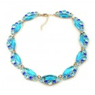 Navette Necklace ~ Aqua with Blue