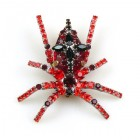 Cross Spider Brooch ~ Red and Black
