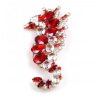 Sea-Horse Brooch ~ Clear Crystal Red