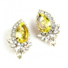Paris Charm Clips Earrings ~ Crystal with Yellow Jonquil