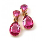 Raindrops Earrings Clips ~ Fuchsia