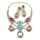 Magnifique Necklace Set with Earrings ~ Pink Fuchsia