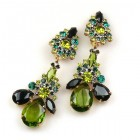 Parisienne Bloom Earrings Clips ~ Olive Green Tones