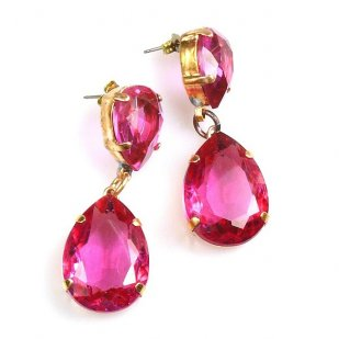 Raindrops Earrings Pierced ~ Fuchsia