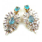 Ella Earrings Clips ~ Baguettes and Octagons Longer ~ Aqua