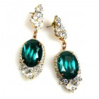 Ovals Earrings for Pierced Ears ~ Crystal Silver Emerald