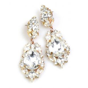 Grand Mythique Earrings for Pierced Ears ~ Clear Crystal