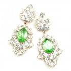 Beaute Earrings Pierced ~ Crystal with Silver Green