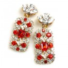 Zara Clips-on Earrings ~ Clear Crystal with Red