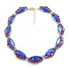 Navette Necklace ~ Blue with Hyacinth
