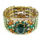 Sunnydance Clamper Bracelet ~ Green with Silver Emerald