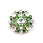 Round Brooch ~ Peridot Green with Clear Crystal