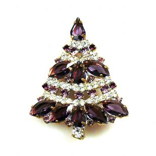 Xmas Tree Brooch #09 ~ Purple Clear
