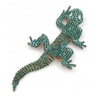 Extra Large Lizard Gecko Brooch ~ Emerald