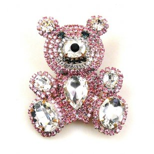 Teddy Bear Pin ~ Clear Crystal and Pink