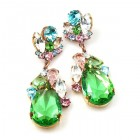 Fountain Earrings for Pierced Ears ~ Pastel Tones with Green