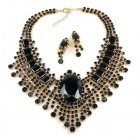 Gods Eye Necklace with Earrings ~ Black