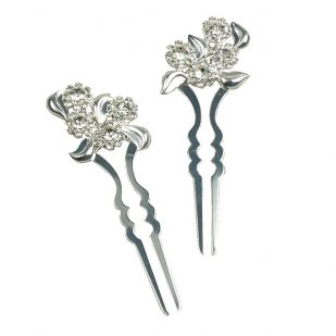 Zephyr Hair Pins Pair ~ Leafs and Flowers ~ Silver Plated