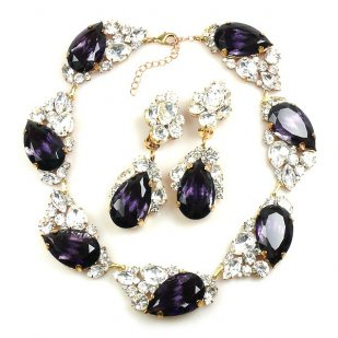 Fountain Necklace Set ~ Clear Crystal with Silver Purple