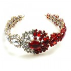 Aztec Sun Headband Tiara ~ Clear Crystal and Red
