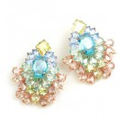 Elegancy Earrings with Clips ~ Pastel Tones