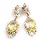 Ovals Earrings for Pierced Ears ~ Crystal Yellow Jonquil