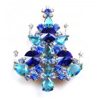 Rivoli Xmas Tree Brooch ~ Blue Aqua