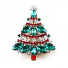 Xmas Tree Brooch #09 ~ Emerald Red Clear