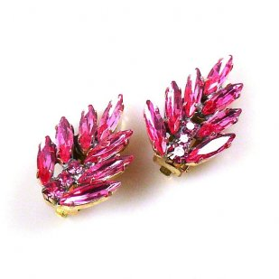 Leafs Earrings with Clips ~ Pink