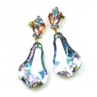 Vitrail Aqua Violet Dangling Pierced Earrings