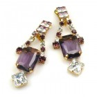 Crystal Shine Earrings with Clips ~ Violet Crystal