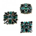 3 pc. Rhinestone Buttons Collection ~ Emerald Black