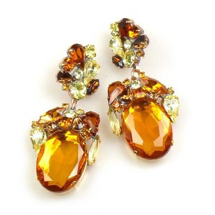 Fiore Pierced Earrings ~ Topaz Ovals with Yellow